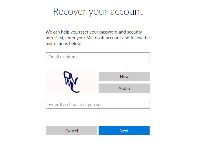 how to recover microsoft account password