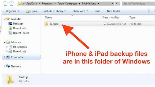 itunes backup file location windows 8.1